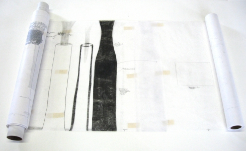 Anne Gilman Scroll Table medical paper, dry pigment, pencil, tape, collage