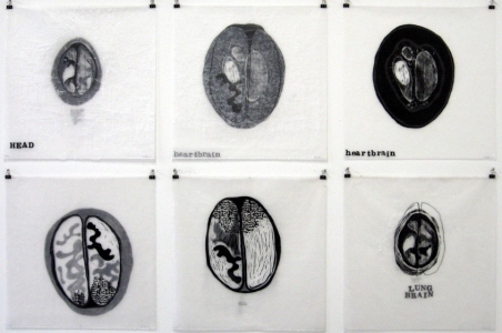 Anne Gilman Limited Edition relief print with hand drawing, ink, wax, thread