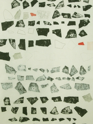 Anne Gilman Work from Residency with Edward Albee Foundation ink, pencil, paint with 42 relief prints on 3 scrolls
