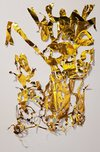 Kintsugi and Road Ribbons  Cut metallic gold origami paper, adhesive