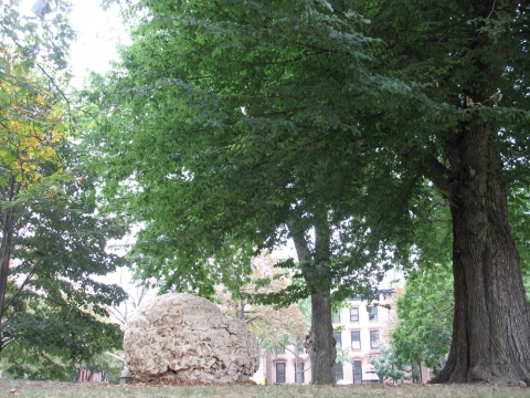 Anne Peabody Fallen Nest, 2007 : Fort Greene Park, Brooklyn, New York Found Wood, Fire Wood, Spray Foam Insulation