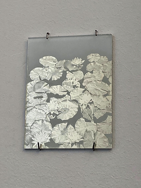 Anne Peabody Drawings Platinum leaf and white paint on glass