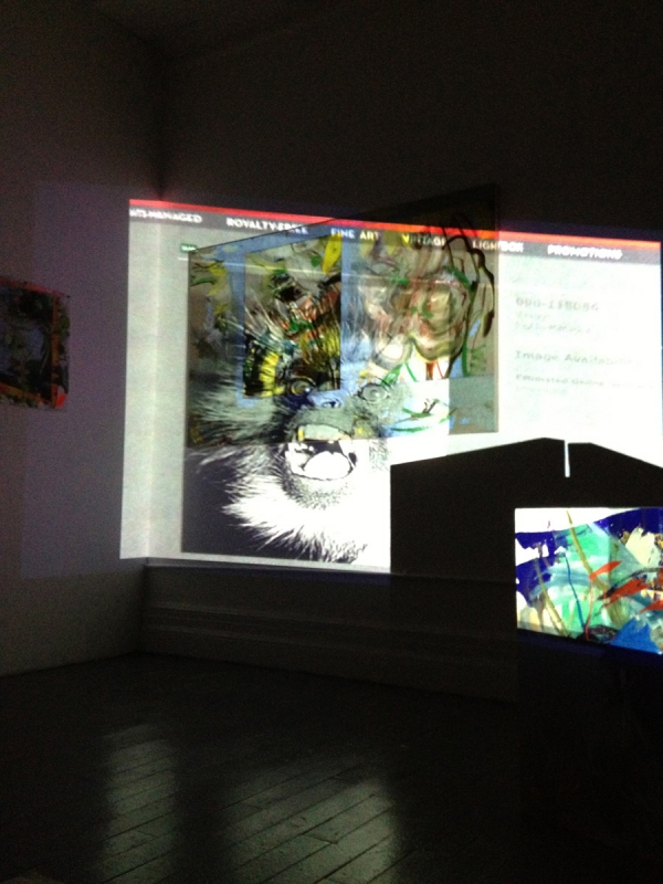 """Lindsay's Report,"" Video and Painting Installation, New York, NY, November 2012 Anne Sherwood Pundyk 2010. Single-channel video (color, sound), 6:38 min. Projected to 60"" height on painting installation. ""My Atlas: Lindsay/A Report to an Academy."""