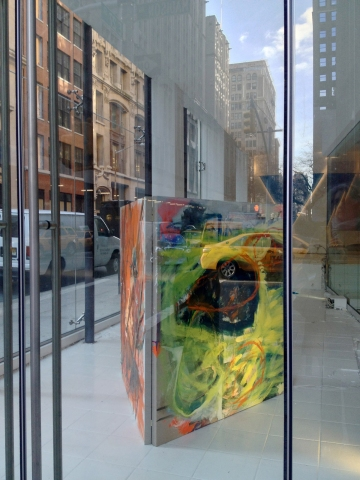 "Installation view of ""RENTED WORLD,"" solo exhibition of paintings, video, lighting, site-specific wall painting and blue gravel, The MAve Hotel  62 Madison Avenue (at 27th Street) New York, NY, December 1, 2012 – February 28, 2013, visible from the street 24/7, #RentedWorld"