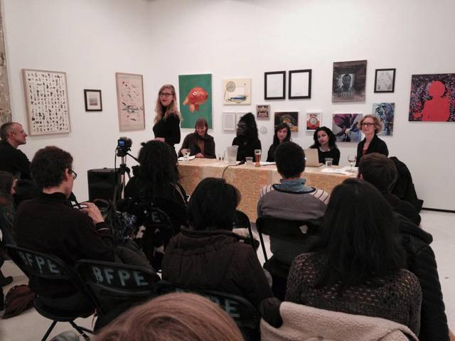 Bushwick Art Crit Group Panel Discussion: Marching Forward: Collective Strategies of Women in the Arts  organized by Kelsey Shwetz  with Jenn Dierdorf, Frida Kahlo (Guerrilla Girls), Anki King, Asha Cherian and Anne Sherwood Pundyk