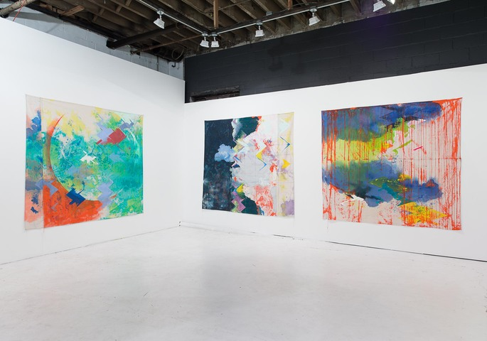 "Installation view of ""The Revolution Will Be Painted,"" solo exhibition of paintings by Anne Sherwood Pundyk, Christopher Stout Gallery, New York, April 1 to May 1, 2016. From left to right: ""Diving Bell"" (2015), ""Molten"" (2015), and ""Reine"" (2015)"