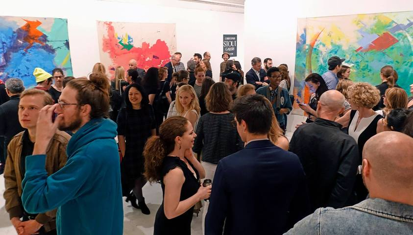 "Opening reception for ""The Revolution Will Be Painted,"" solo exhibition of paintings by Anne Sherwood Pundyk, Christopher Stout Gallery, New York, April 1 to May 1, 2016"