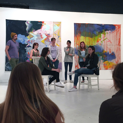 "Sketch comedy performance in the gallery during ""The Revolution Will Be Painted,"" solo exhibition of paintings by Anne Sherwood Pundyk, Christopher Stout Gallery, New York, April 1 to May 1, 2016"