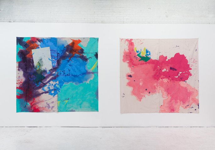 "Installation view of ""The Revolution Will Be Painted,"" solo exhibition of paintings by Anne Sherwood Pundyk, Christopher Stout Gallery, New York, April 1 to May 1, 2016. From left to right: ""Wind O"" (2015) and ""Pitch"" (2015)"
