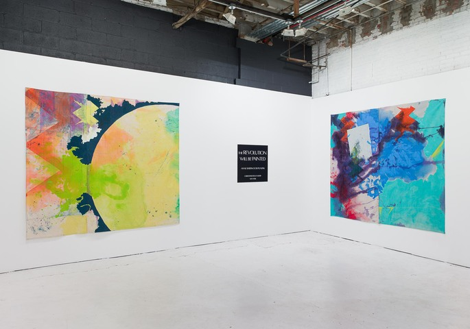 "Installation view of ""The Revolution Will Be Painted,"" solo exhibition of paintings by Anne Sherwood Pundyk, Christopher Stout Gallery, New York, April 1 to May 1, 2016. From left to right: ""Ancestors (2015) and ""Wind O"" (2015)"