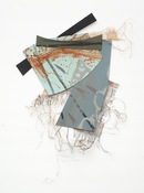 "ANNE SEELBACH ""Troubled Waters"" cutouts/collages acrylic on plastic mesh and cut composition board"