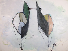 ANNE SEELBACH 1997-2001 Tethered Boats acrylic and charcoal on paper