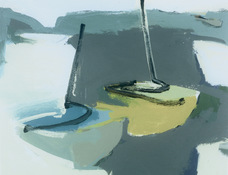 ANNE SEELBACH 1997-2001 Tethered Boats acrylic on canvas