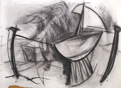 ANNE SEELBACH 1997-2001 Tethered Boats charcoal on paper