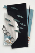"ANNE SEELBACH ""Troubled Waters"" cutouts/collages acrylic, tempera, plastic mesh on cut paper"