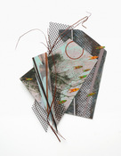 "ANNE SEELBACH ""Troubled Waters"" cutouts/collages acrylic on cut paperboard and plastic strapping, plastic mesh"