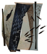 "ANNE SEELBACH ""Troubled Waters"" cutouts/collages acrylic on cut  paper"