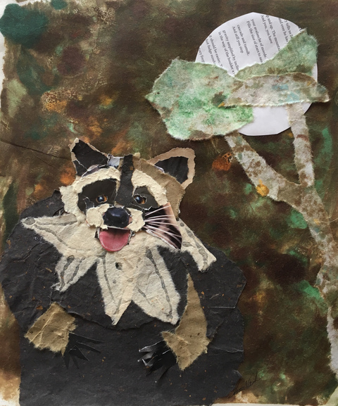 Annie Nash RACCOONS Ink, watercolor, pencil, Japanese and handmade papers, and glue on 140 lb Canson cold press paper