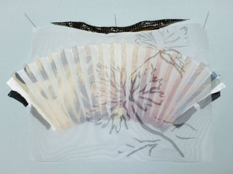 "ANN STODDARD 2010-11 ""Collecting"" series digital print on organza,silk,vinyl"
