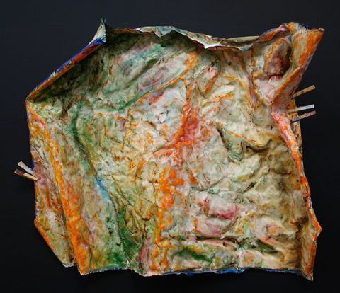 ANNie STODDARD Earth Maps Oil on manipulated linen, clothespins