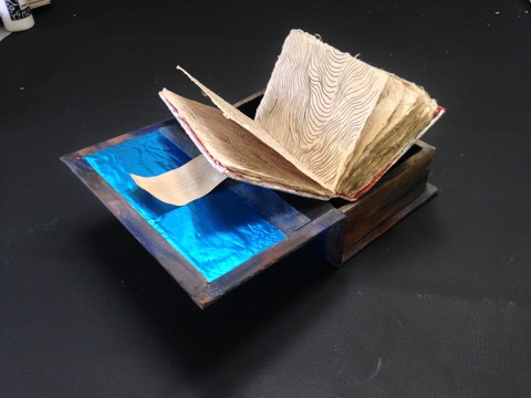 ANNie STODDARD Journals/Porch Poesy Wooden box, foil, linen tape, paint, handmade book, ink