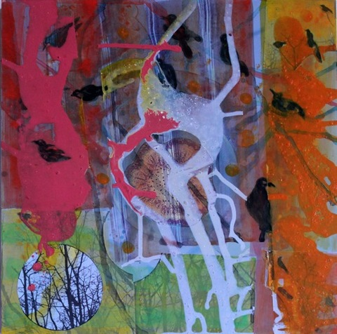 ART FOR FILM - great cleared art rental for film, television and commercials Jane Dell (DELJAN) acrylic, varnish, collage on board