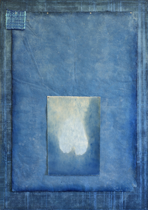 AUGUSTE  RHONDA  TYMESON choosing my confessions cyanotype emulsion on linen, cyanotype on paper, and potholder