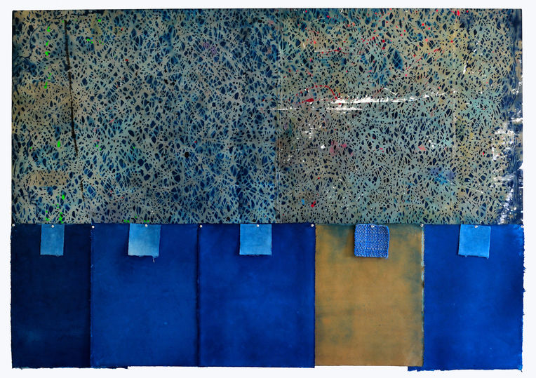 AUGUSTE  RHONDA  TYMESON choosing my confessions cyanotype on stitched drop cloth, cyanotype on paper, potholder