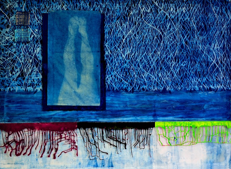 AUGUSTE  RHONDA  TYMESON choosing my confessions cyanotype, cut paper, acrylic on canvas
