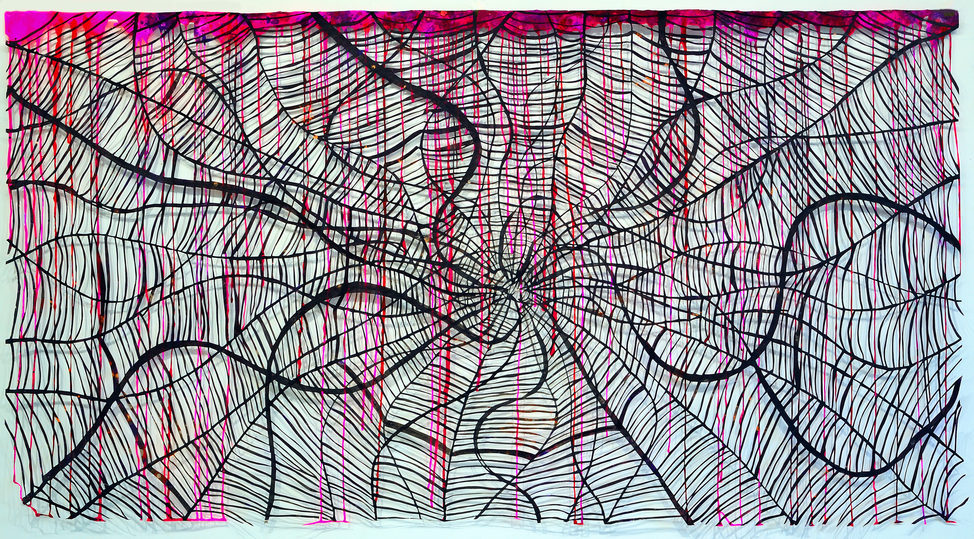 AUGUSTE  RHONDA  TYMESON webs hand cut paper, sumi ink, acrylics