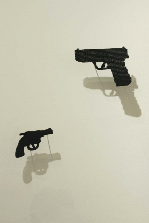 Ashley V. Blalock Other Sculpture and Installation crochet thread and toy gun