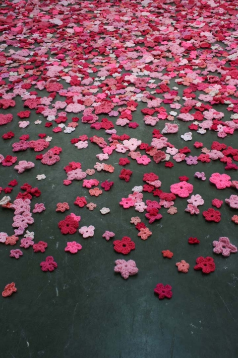 Ashley V. Blalock To Live is to Leave Traces Installation 4,000 crochet flowers, video