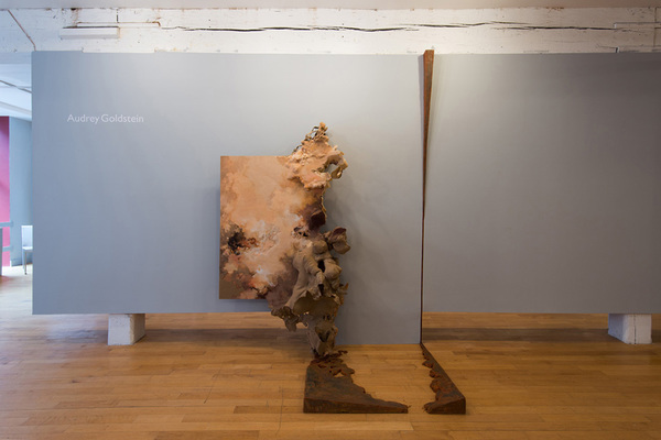 Audrey Goldstein Issues of Trust II Wood, paper, veneer, resin, cement, wool, adhesives, oil paint, pastel, acrylic paint, marble powder, paste wax