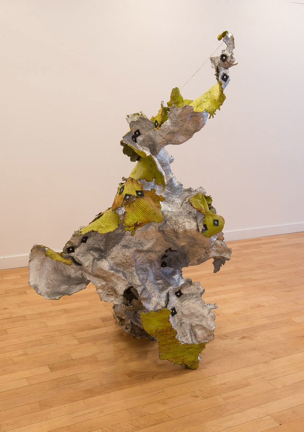 Audrey Goldstein The Repair Reflex Resin, Wax, Oil paint, Powdered Silver, Rubber, Steel Poles, Cement, Thread