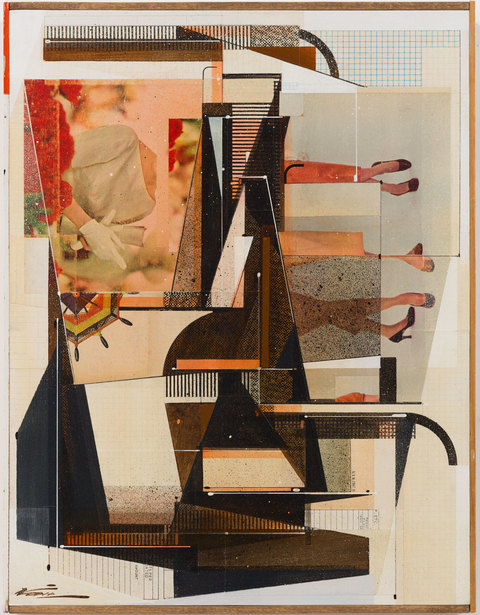 Augustine Kofie Collage Found paper, acrylic polymer, ball point pen and graphite on cradled birch panel;   sealed in archival matte varnish.; finished in satin varnish; strip framed by artist with found yardsticks and pine.