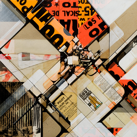 Augustine Kofie Collage Found paper, pressboard, acrylic, xerographic gel transfer  & found wood on cradled birch panel. Finished in matte satin medium. Framed with found rulers & wood.