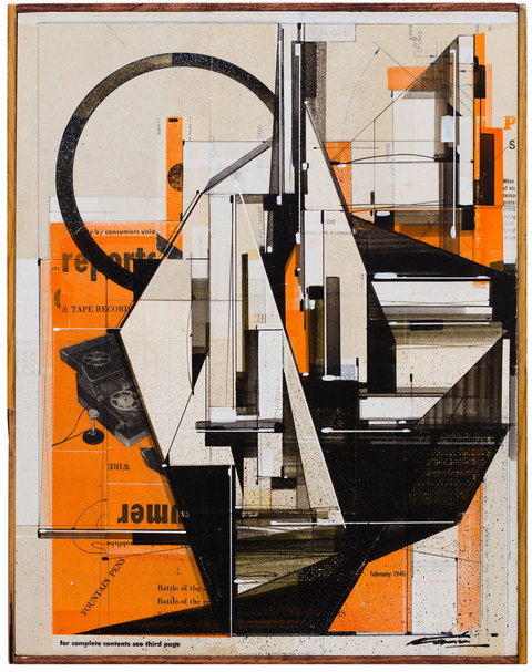 Augustine Kofie Collage Found paper, acrylic, screen-print, ball point pen, graphite and white-out on cradled birch panel.  Sealed in archival matte varnish. Finished in satin varnish.  Framed by artist with mahogany stained pine and found yardsticks.