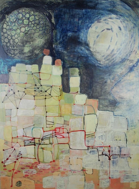 Maps, Systems & Patterns acrylic, graphite, ink, carving on birch
