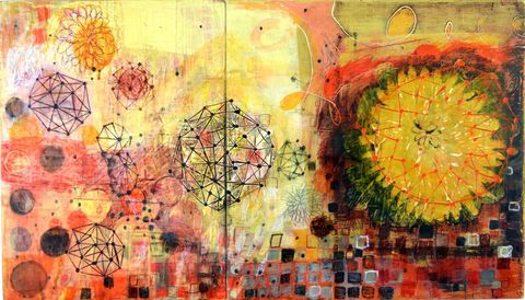 Maps, Systems & Patterns acrylic, mixed media on birch panels, Barbara Gilhooly(c) 2014
