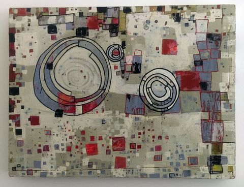 Maps, Systems & Patterns Acrylic, ink, carved drawing on birch