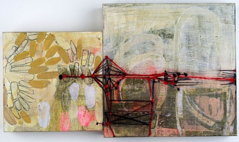 Maps, Systems & Patterns acrylic, pencil, carving on birch panels