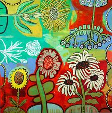 Botanical  acrylic, enamel on wood panel