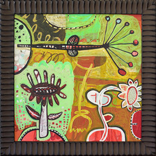 Botanical  acrylic, enamel, on board