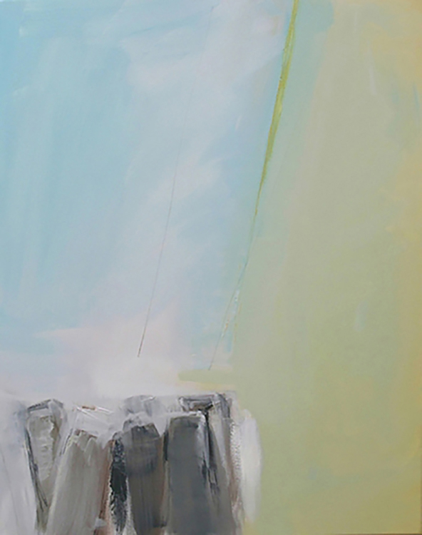 "Selected early works Movement (oblique) 1, 2009, oil on canvas, 22"" x 28"""