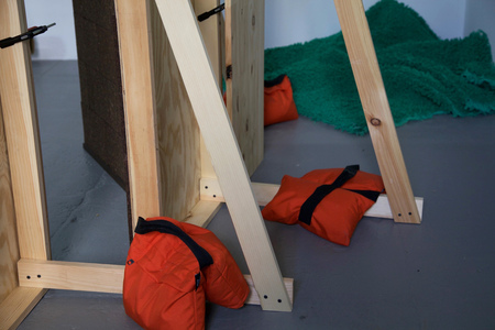 Barbara Gallucci Sculpture and Installation Photographs, lumber, sandbags