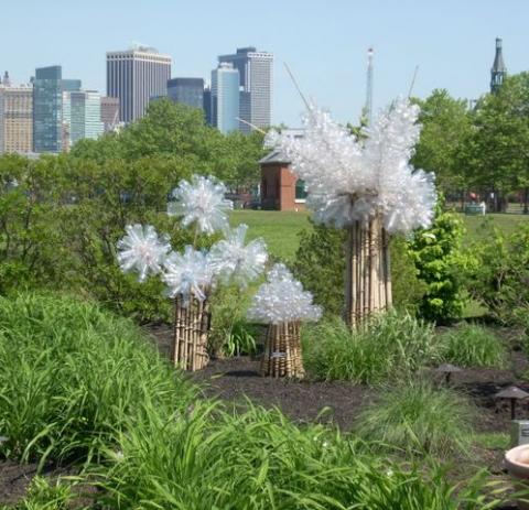 Barbara Lubliner Plastic Bottles, Bamboo, Jute Rope, Solar Light