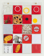 Barbara Lubliner Plastic Pockets plastic slide sleeve, paper, cardboard, found objects