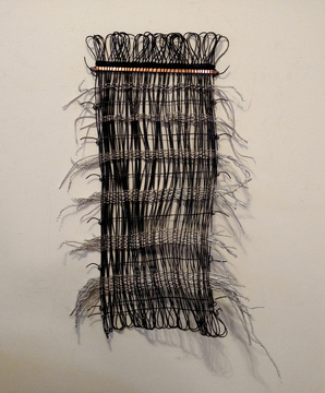 Barbara Lubliner Weavings Black wire, copper, aluminum filings