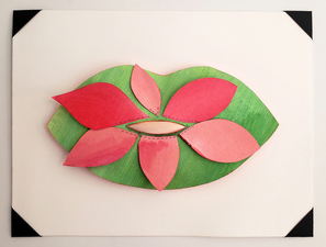 Barbara Lubliner Flower Lips (mouth) paper, paint, fabric