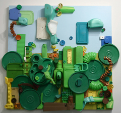 Barbara Lubliner Upcycled found plastic, metal, and wood